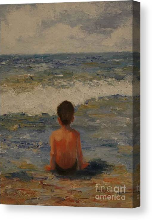 Seascape Canvas Print featuring the painting Pondering the Universe by Colleen Murphy