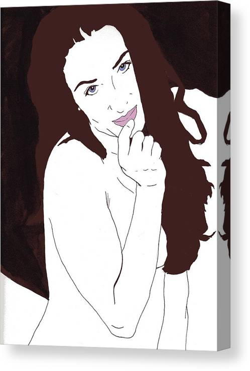 Nude Portrait Canvas Print featuring the drawing Mischevious by Stephen Panoushek