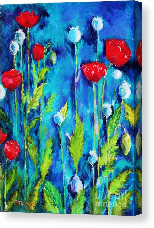Poppies Canvas Print featuring the painting Poppies by Melinda Etzold