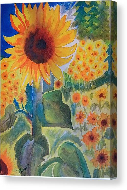 Sunflowers Canvas Print featuring the painting Sunflower Sea by Margaret G Calenda