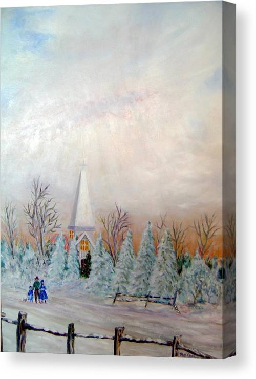Church; People Walking In Snow; Christmas; Snow Canvas Print featuring the painting Christmas Eve by Ben Kiger