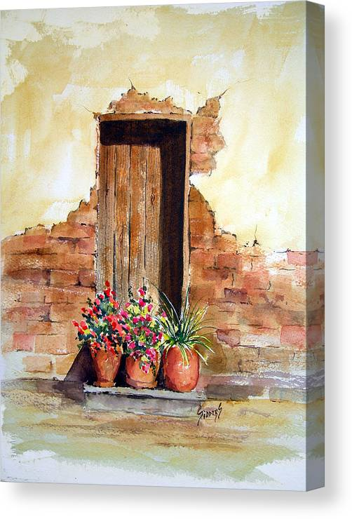 Door Canvas Print featuring the painting Door With Pots by Sam Sidders