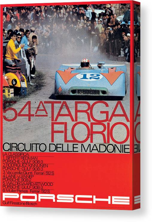 54th Canvas Print featuring the digital art 54th Targa Florio Porsche Race Poster by Georgia Fowler