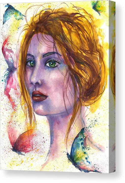 Women Face Canvas Print featuring the painting Abstract women face by Natalja Picugina