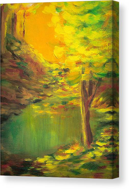 Landscape Canvas Print featuring the painting Aldergrove Lake by Vi Mosley