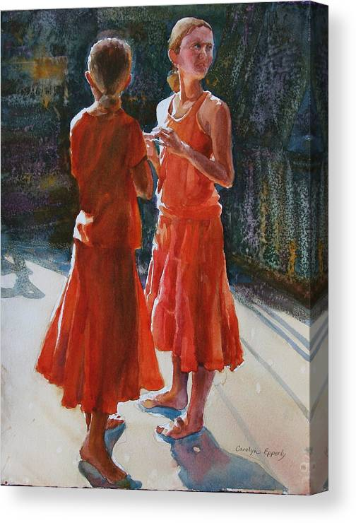 Figures Canvas Print featuring the painting Are They Twins by Carolyn Epperly