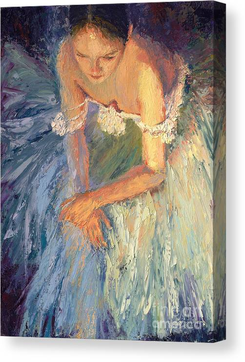 Ballerina (framed) Canvas Print featuring the painting Ballerina Resting by Colleen Murphy