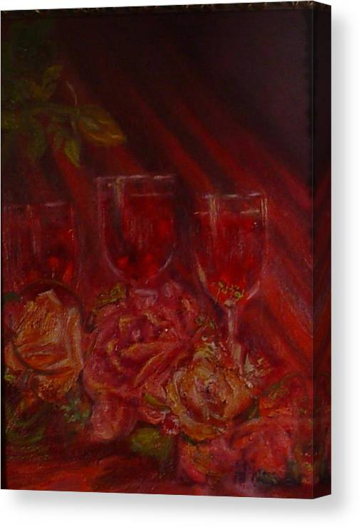 Wine And Roses Canvas Print featuring the mixed media Beringer Cabernet Savignon by Helen Musser