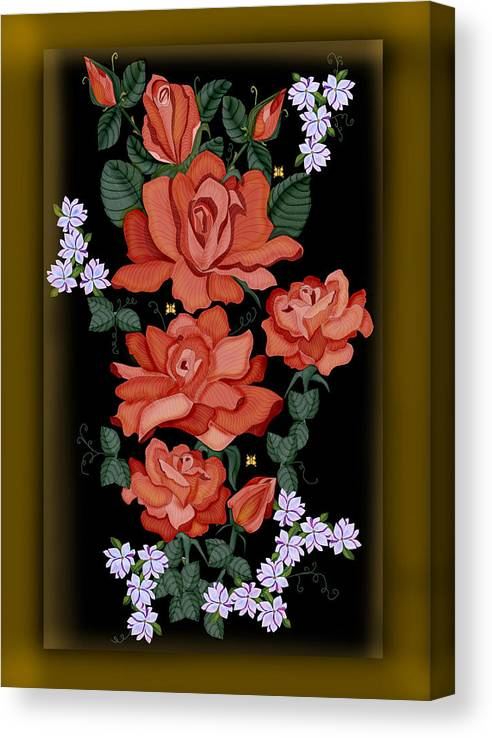 Hand-drawn Digital Painting Canvas Print featuring the painting Black Lacquer Roses by Anne Norskog