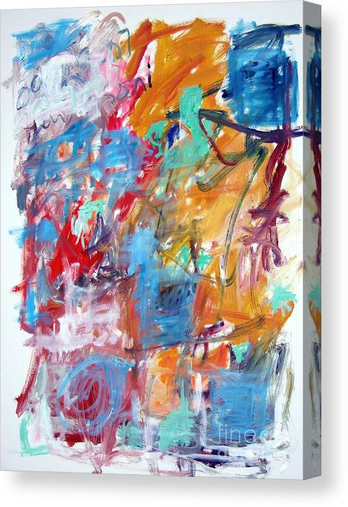 Abstract Canvas Print featuring the painting Blue And Orange Abstract by Michael Henderson
