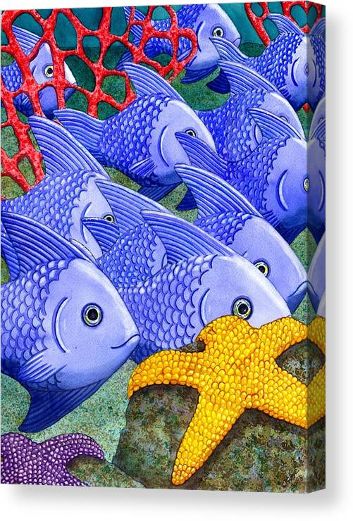 Fish Canvas Print featuring the painting Blue Fish by Catherine G McElroy