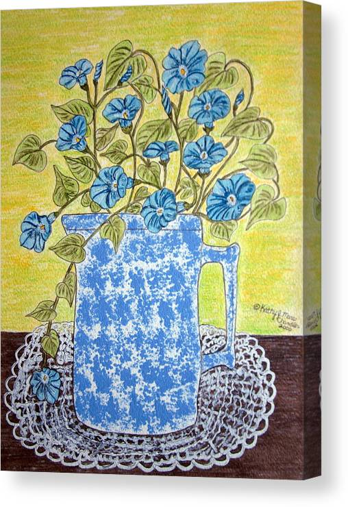 Blue Canvas Print featuring the painting Blue Spongeware Pitcher Morning Glories by Kathy Marrs Chandler