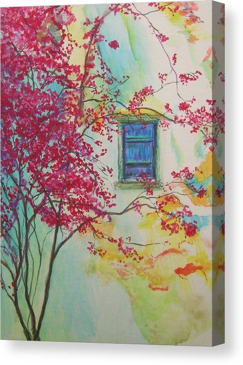 Bouganvilla Canvas Print featuring the painting Bouganvilla And Blue Shutter by Lizzy Forrester