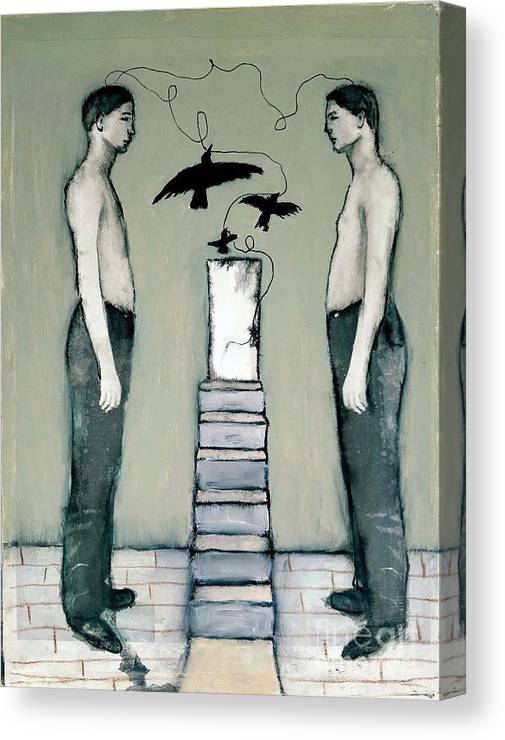 Boys Canvas Print featuring the painting Boys With Crows by Linda Marcille