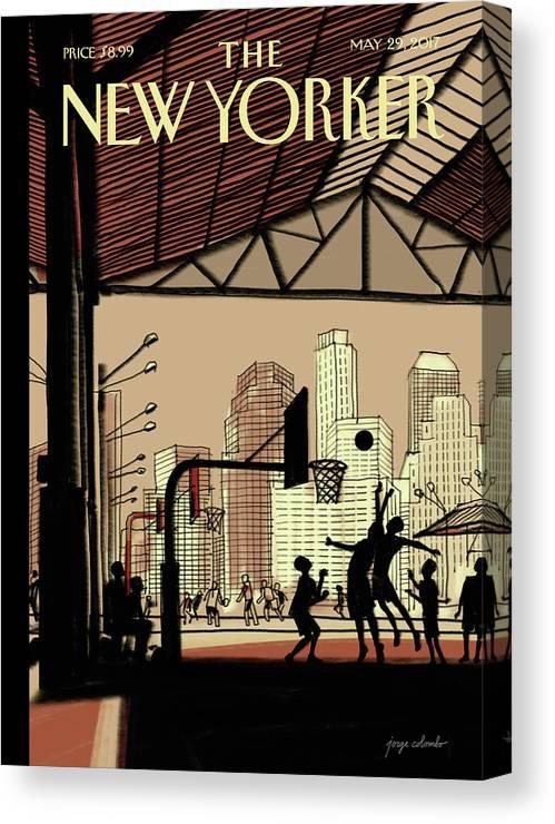 Brooklyn Bridge Park Canvas Print featuring the digital art Brooklyn Bridge Park by Jorge Colombo