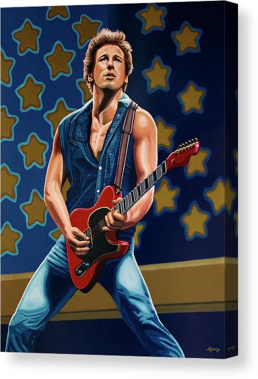 Bruce Springsteen Canvas Print featuring the painting Bruce Springsteen The Boss Painting by Paul Meijering