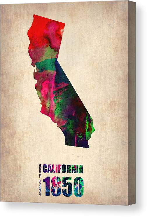 California Canvas Print featuring the digital art California Watercolor Map by Naxart Studio