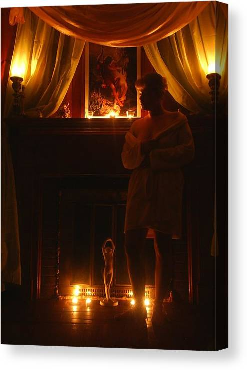 Woman Canvas Print featuring the photograph Candlelight Glow by Scarlett Royal