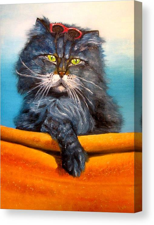 Cat Canvas Print featuring the painting Cat.Go to swim.Original oil painting by Natalja Picugina