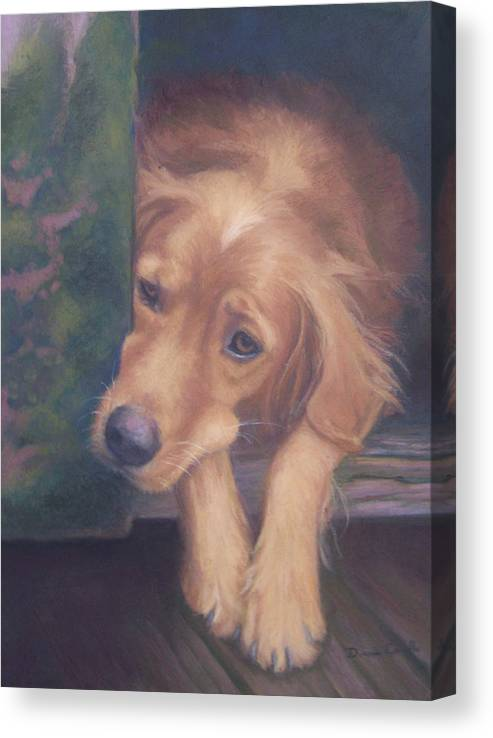 Charlie Canvas Print featuring the painting Charlie's In The Doghouse by Diane Caudle