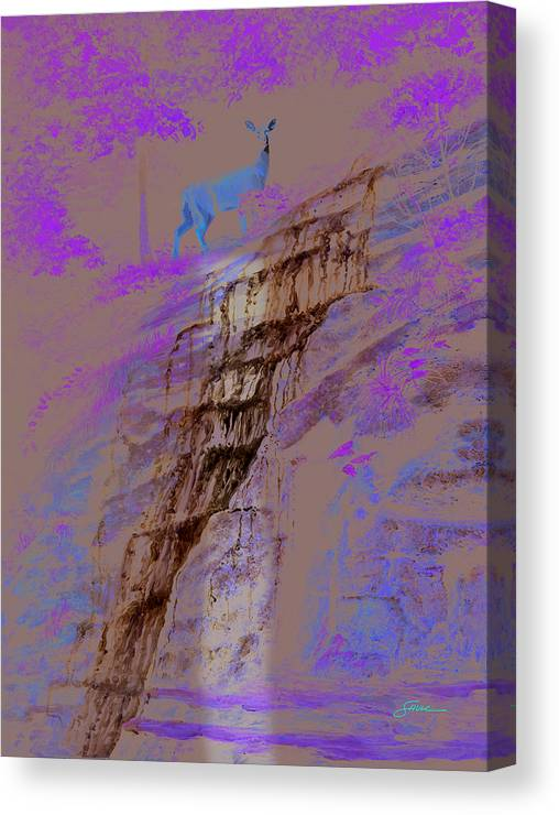 Landscape Canvas Print featuring the painting Cool Cascade by Harold Shull