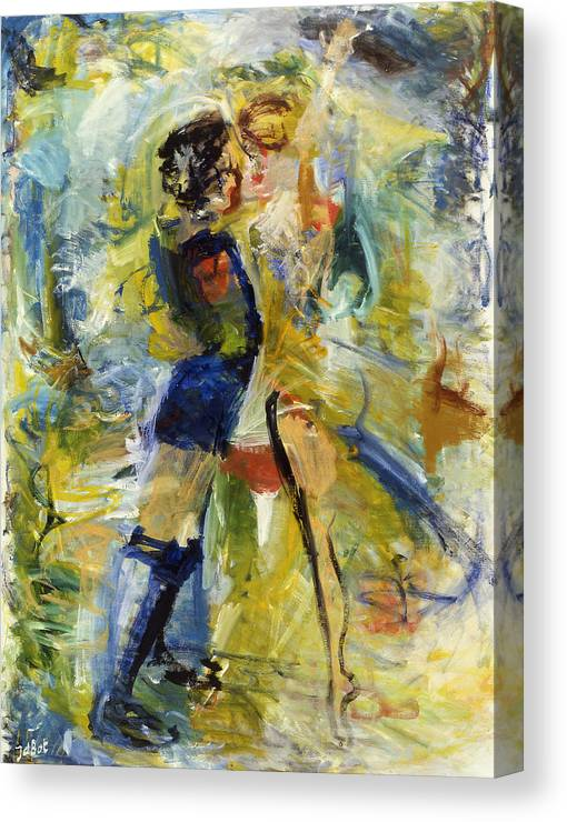 Dance Light Boy Girl Colors Canvas Print featuring the painting Dance by Joan De Bot