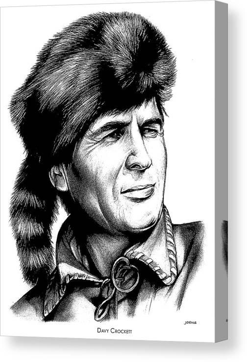 Davy Crockett Canvas Print featuring the drawing Davy Crockett by Greg Joens
