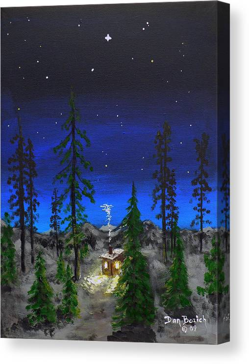 Bright Star Canvas Print featuring the painting Decembers Star by Dan Bozich