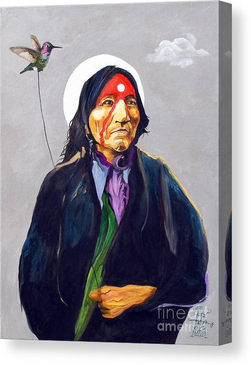 Shaman Canvas Print featuring the painting Direct Connection by J W Baker