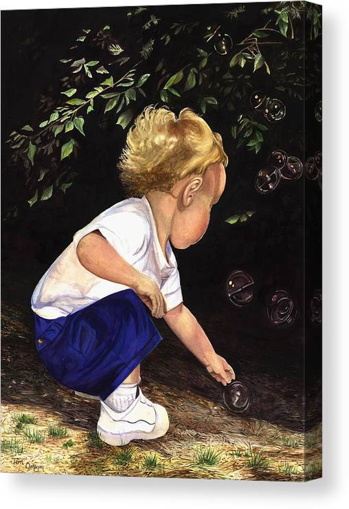 Portrait Canvas Print featuring the painting Discovering Bubbles by Terri Meyer