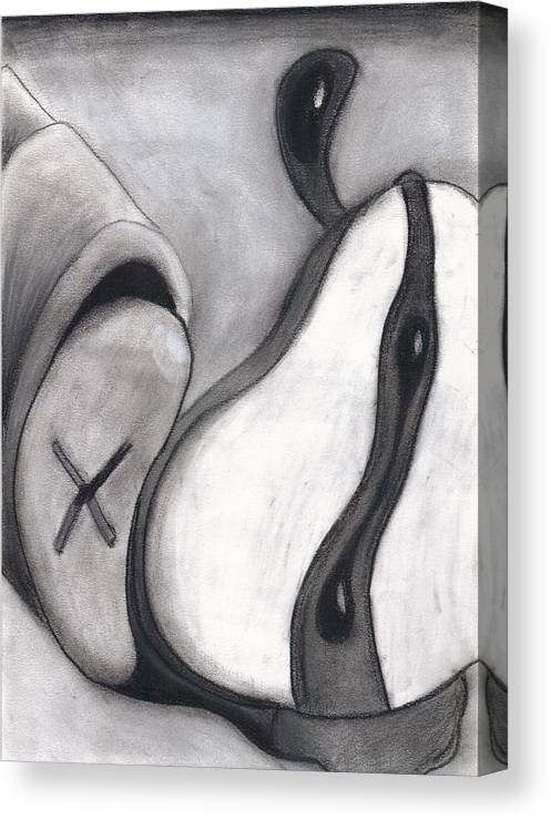 Charcoal Canvas Print featuring the drawing Distorted Series 4 by Dan Fluet