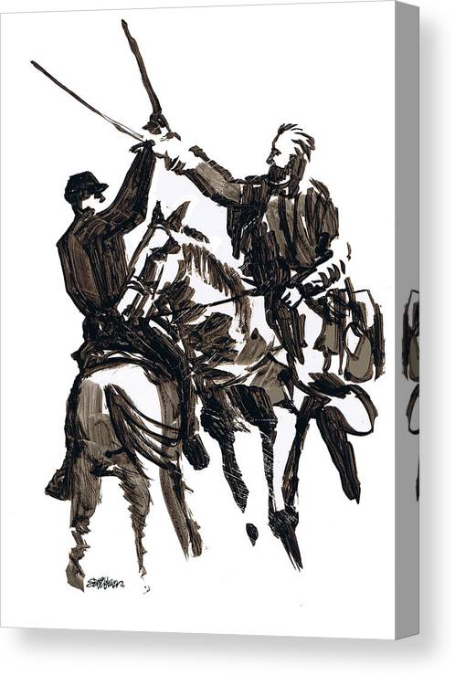 Civil War Canvas Print featuring the drawing Dueling Sabres by Seth Weaver
