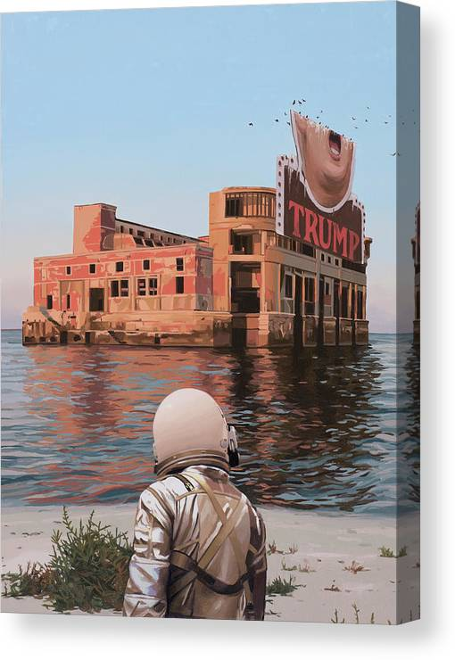 Astronaut Canvas Print featuring the painting Empty Palace by Scott Listfield