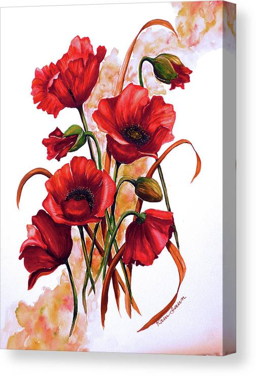 Red Poppies Paintings Floral Paintings Botanical Paintings Flower Paintings Poppy Paintings Field Poppy Painting Greeting Card Paintings Poster Print Painting Canvas Print Painting  Canvas Print featuring the painting English Poppies 2 by Karin Dawn Kelshall- Best