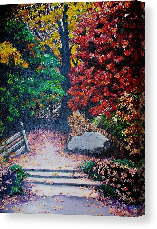 A N Original Painting Of An Autumn Scene In The Gateneau In Quebec Canvas Print featuring the painting Fall In Quebec Canada by Karin Dawn Kelshall- Best