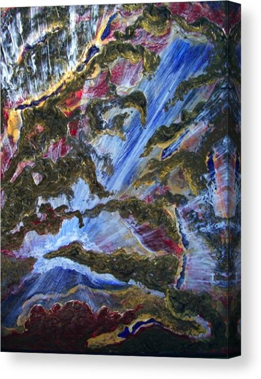 Semi Abstract Rush Of Blue And White Water Falling Down To A White Cloud Canvas Print featuring the painting Falls by Pam Ellis