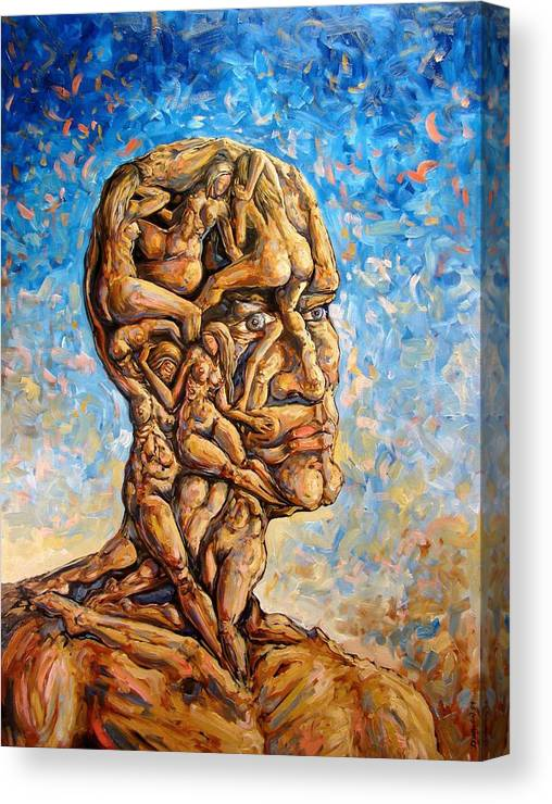 Surrealism Canvas Print featuring the painting Fantasies of a 120 years old man struggling to survive by Darwin Leon