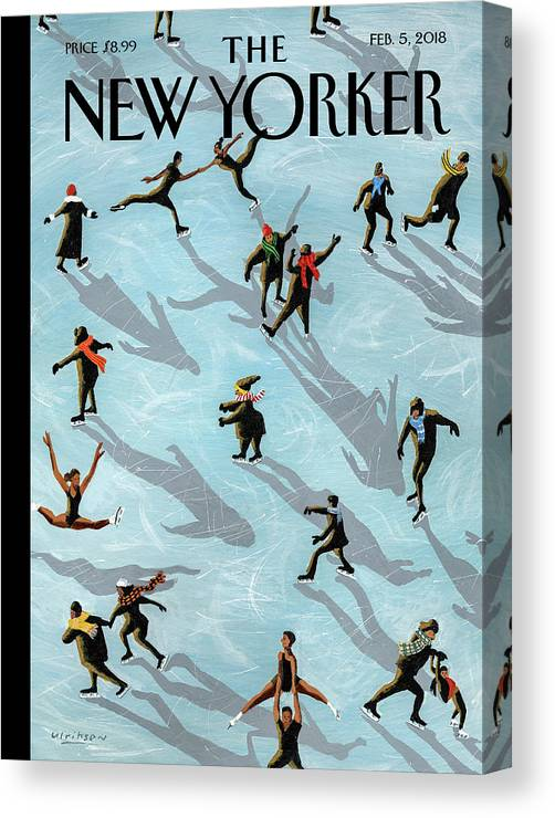 Figured Skaters Canvas Print featuring the painting Figured Skaters by Mark Ulriksen