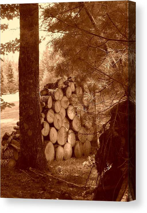 Firewood Canvas Print featuring the photograph Firewood by Peter Mowry