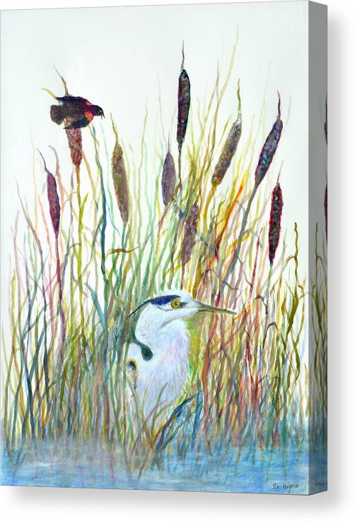 Fishing Canvas Print featuring the painting Fishing Blue Heron by Ben Kiger