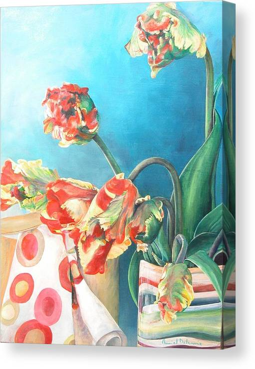Still Life Canvas Print featuring the painting Foulard by Muriel Dolemieux