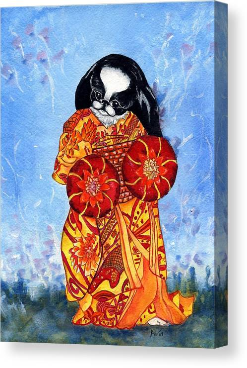 Japanese Chin Canvas Print featuring the painting Geisha Chin by Kathleen Sepulveda