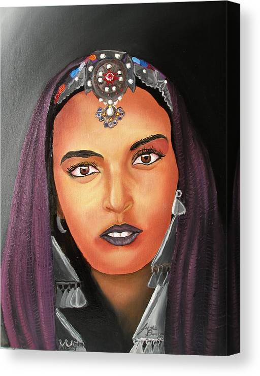 This One Is An Original Work Of Art! It Would Be A Great Buy For The Morocco Lover!!!!!! Canvas Print featuring the painting Girl Of Morocco by Dunbar's Local Art Boutique