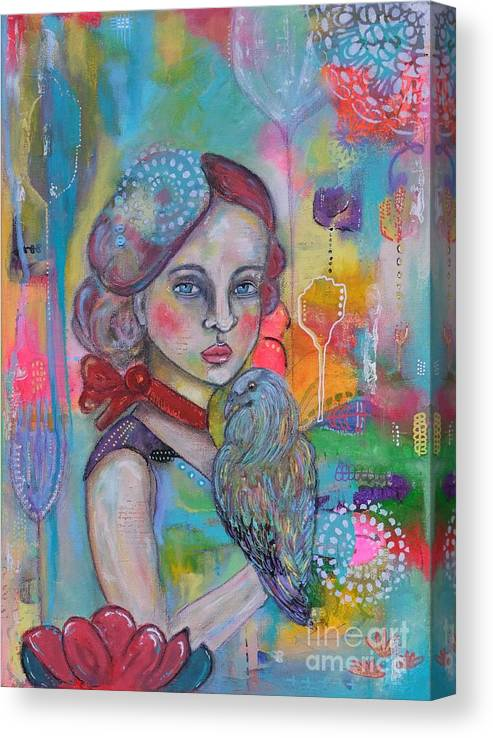 Girl With Nicobar Bird Canvas Print featuring the painting Girl with Nicobar bird Original Canvas Painting by Cristina Parus