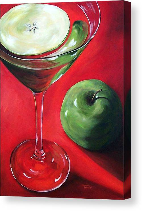 Martini Canvas Print featuring the painting Green Apple Martini by Torrie Smiley