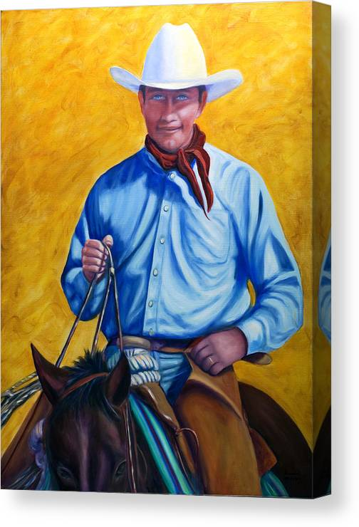 Cowboy Canvas Print featuring the painting Happy Trails by Shannon Grissom