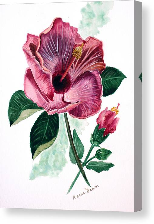 Flora Painting L Hibiscus Painting Pink Flower Painting Greeting Card Painting Canvas Print featuring the painting Hibiscus Dusky Rose by Karin Dawn Kelshall- Best