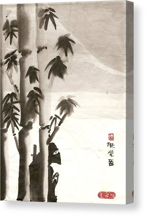 China Canvas Print featuring the painting Hiding in bamboo by Rick Lowe