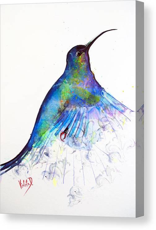 Hummingbird Canvas Print featuring the painting Hummingbird 11 by Violeta Damjanovic-Behrendt