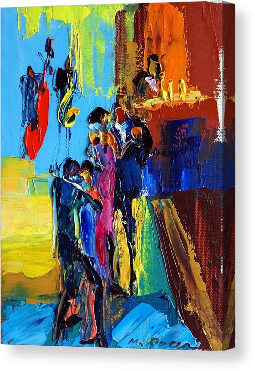 Artwork Canvas Print featuring the painting Jazz Club by Maya Green